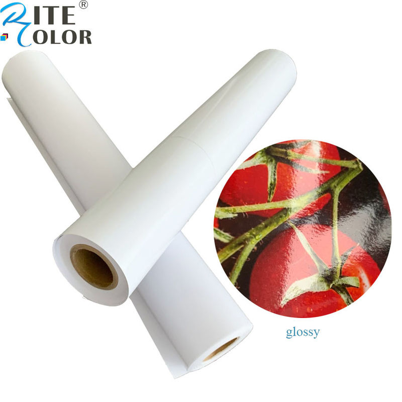 "Primed 24"" 36"" Glossy / Luster RC Inkjet Photo Paper Roll For Pigment Ink Printing"